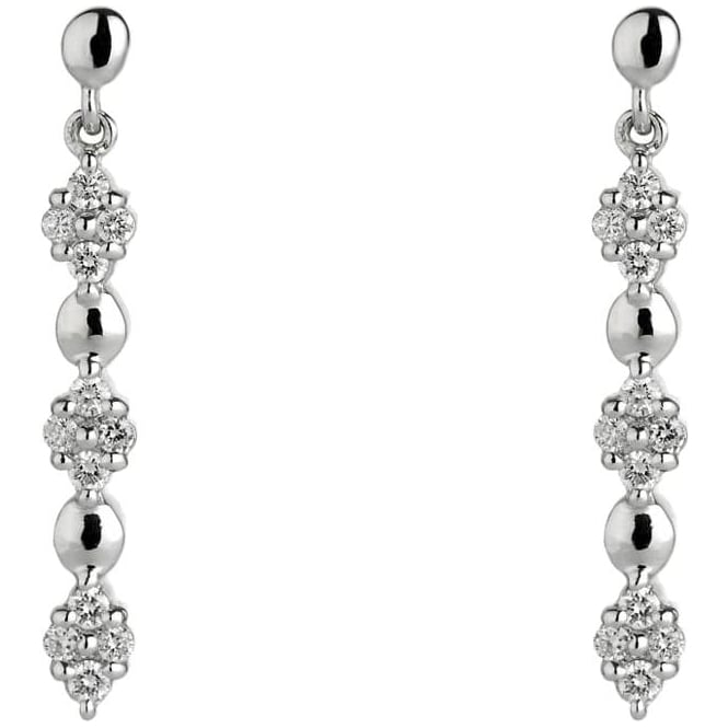 Owen & Robinson 18ct White Gold Three Cluster Diamond Drop Earrings