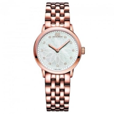 Ladies Double 8 Origin Rose Gold PVD 29mm Mother of Pearl Diamond Dot Dial Bracelet Watch