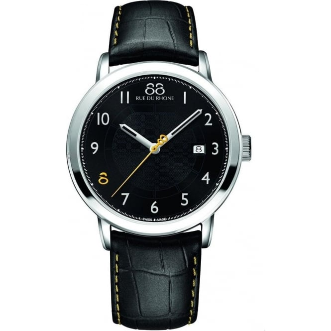 88 Rue Du Rhone Men's Double 8 Origin 42mm Black / Yellow Dial Strap Watch