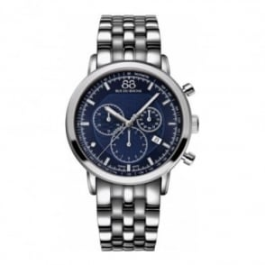 88 Rue Du Rhone Men's Double 8 Origin 42mm Quartz Chronograph Blue Dial Bracelet Watch