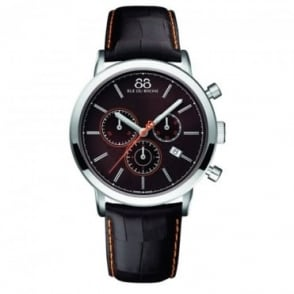 88 Rue Du Rhone Men's Double 8 Origin 42mm Quartz Chronograph Brown / Orange Dial Strap Watch