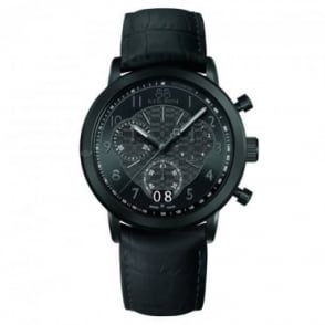 88 Rue Du Rhone Men's Double 8 Origin Black PVD 45mm Quartz Chronograph Black Dial Strap Watch