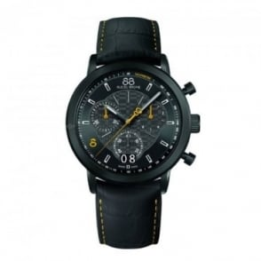 88 Rue Du Rhone Men's Double 8 Origin Black PVD 45mm Quartz Chronograph Black / Yellow Dial Strap Watch