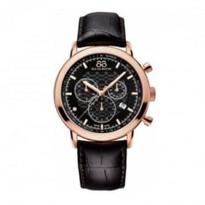 88 Rue Du Rhone Men's Double 8 Origin Rose Gold PVD 42mm Quartz Chronograph Black Dial Strap Watch
