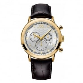 88 Rue Du Rhone Men's Double 8 Origin Yellow Gold PVD 42mm Quartz Chronograph Silver Dial Strap Watch