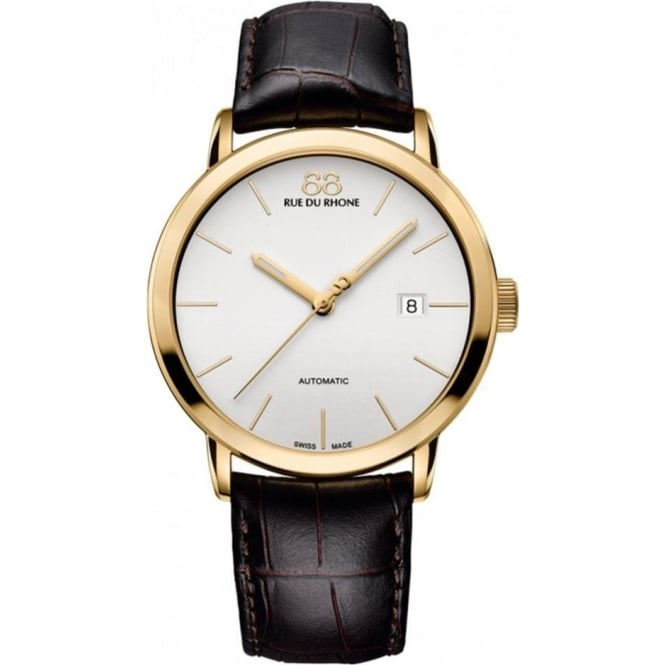 88 Rue Du Rhone Men's Double 8 Origin Yellow Gold PVD Automatic White Dial Strap Watch