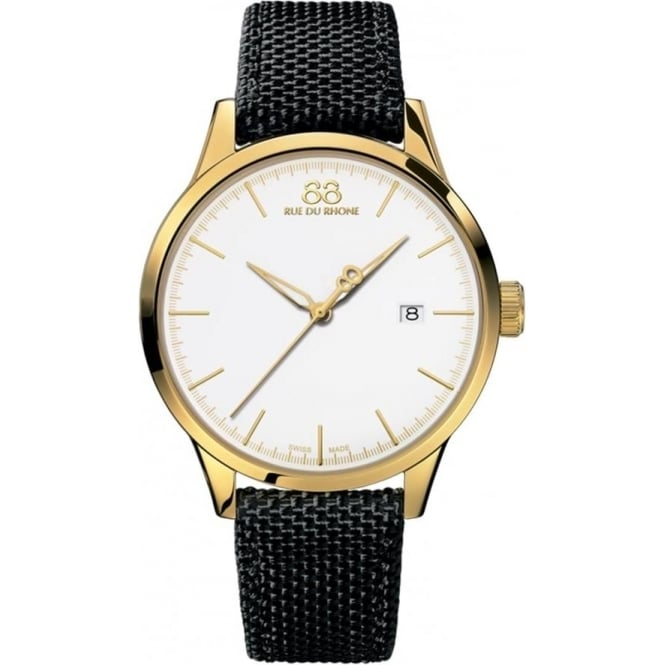 88 Rue Du Rhone Men's Rive Yellow Gold PVD White Dial Nato Strap Watch