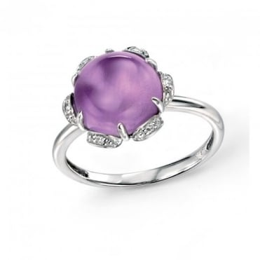 9ct White Gold Amethyst Cabochon and Diamond Cluster Ring