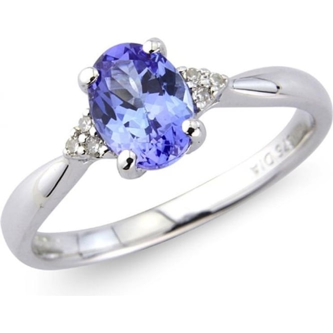 9ct White Gold Oval Tanzanite and Diamond Ring by Owen ...