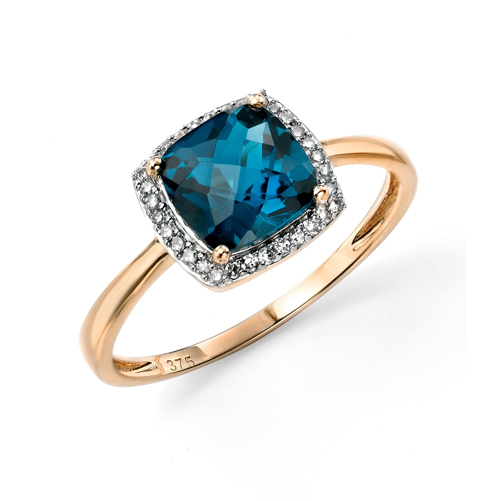 white gold topaz and diamond cut ring blue cushion