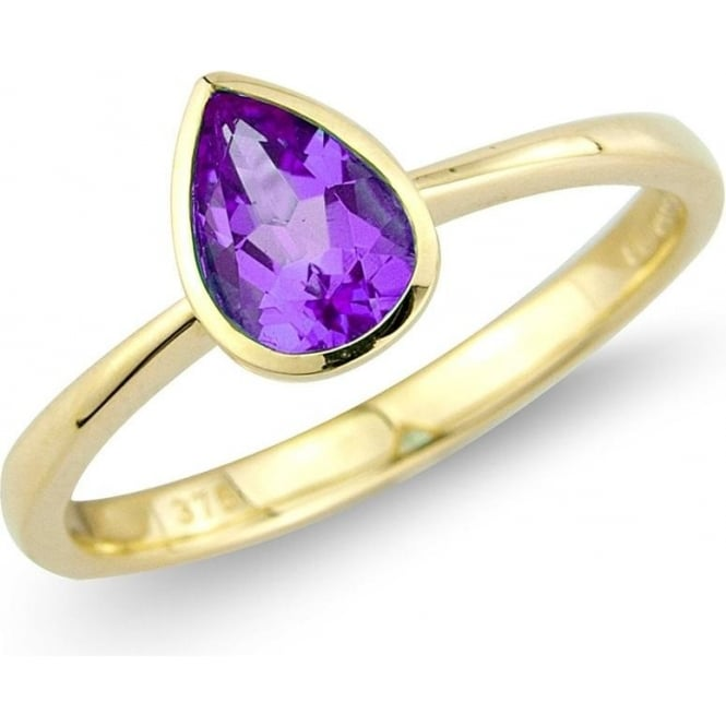 Owen & Robinson 9ct Yellow Gold Pear Cut Amethyst Solitaire Ring