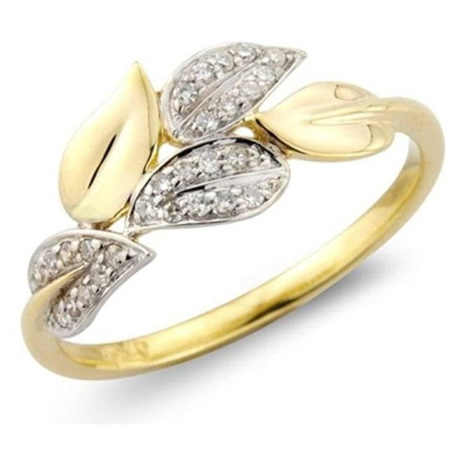 Owen & Robinson 9ct Yellow & White Gold Diamond Leaves Ring