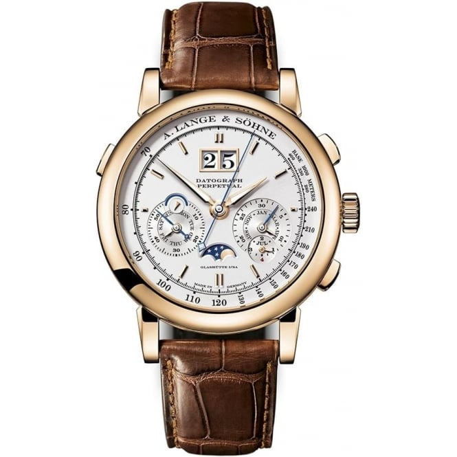 A. Lange & Söhne Datograph Perpetual 18K Rose Gold Handwound Silver Dial Strap Watch