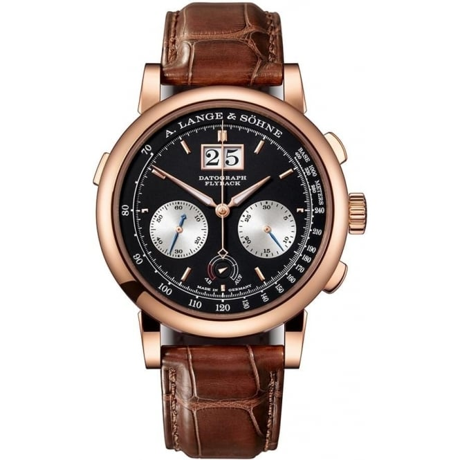 A. Lange & Söhne Gentlemen's 18K Rose Gold Datograph Up/Down Handwound Black Dial Strap Watch