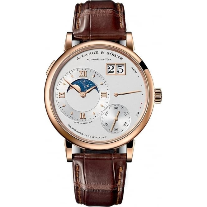 A. Lange & Söhne Gentlemen's 18K Rose Gold Grand Lange 1 Moon Phase Silver Dial Strap Watch
