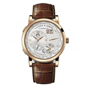 A. Lange & Söhne Gentlemen's 18K Rose Gold Lange 1 Time Zone Silver Dial Strap Watch