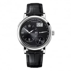 A. Lange & Söhne Grand Lange 1 18K White Gold Handwound Black Dial Strap Watch
