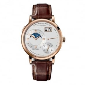 A. Lange & Söhne Grand Lange 1 Moon Phase 18K Rose Gold Handwound Silver Dial Strap Watch
