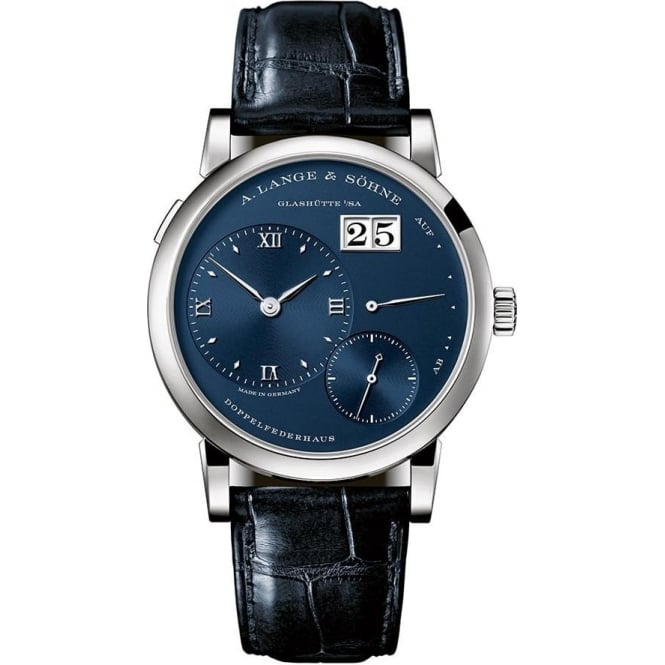 A. Lange & Söhne Lange 1 18K White Gold Handwound Blue Dial Strap Watch