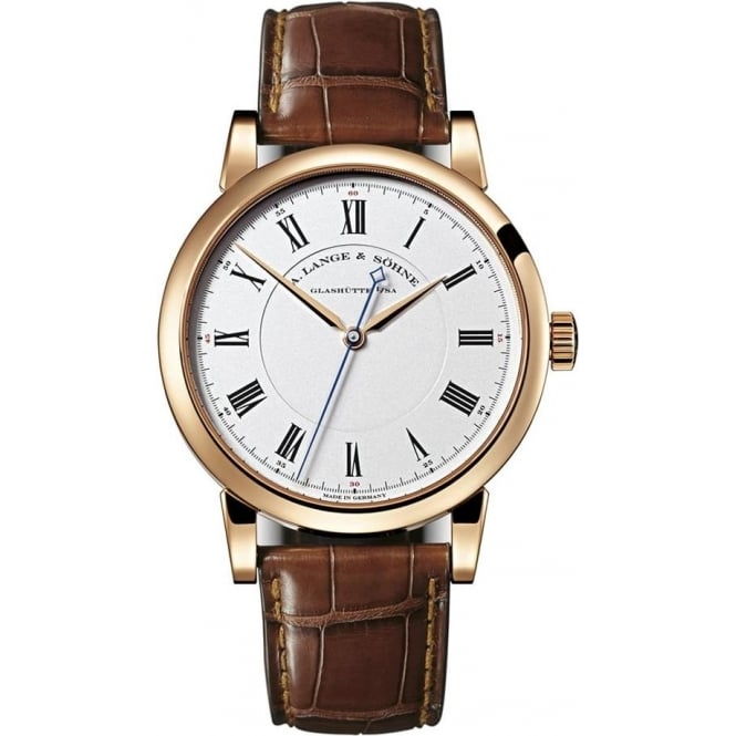 A. Lange & Söhne Richard Lange 18K Rose Gold Handwound Silver Dial Strap Watch