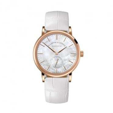 A. Lange & Söhne Saxonia 18K Rose Gold Handwound Mother of Pearl Dial Strap Watch