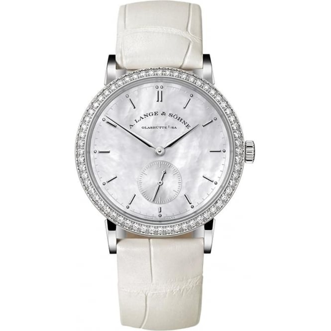 A. Lange & Söhne Saxonia 18K White Gold Handwound Diamond Bezel / Mother of Pearl Dial Strap Watch