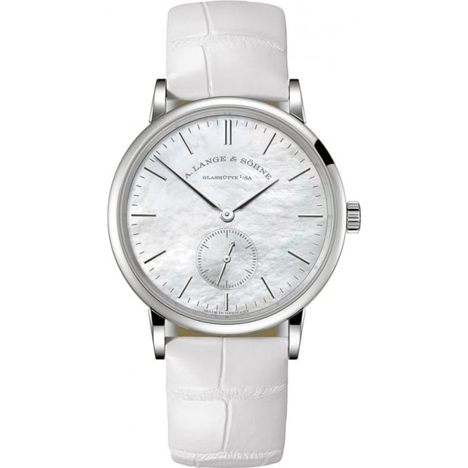 A. Lange & Söhne Saxonia 18K White Gold Handwound Mother of Pearl Dial Strap Watch