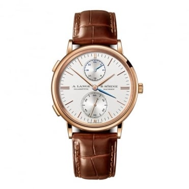 A. Lange & Söhne Saxonia Dual Time Automatic 18K Rose Gold Silver Dial Strap Watch