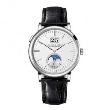 A. Lange & Söhne Saxonia Moonphase 18K White Gold Automatic Silver Dial Strap Watch