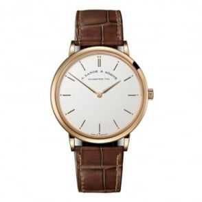 A. Lange & Söhne Saxonia Thin 18K Rose Gold Handwound Silver Dial Strap Watch
