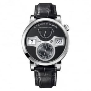 A. Lange & Söhne Zeitwerk 18K White Gold Handwound Black Dial Strap Watch
