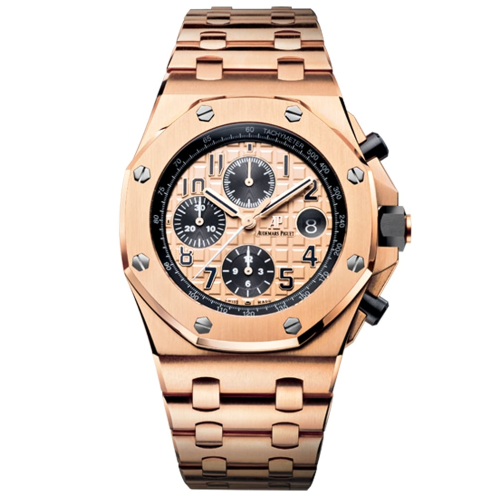 Men 39 s audemars piguet 18ct rose gold royal oak offshore 42mm watch for Audemars watches
