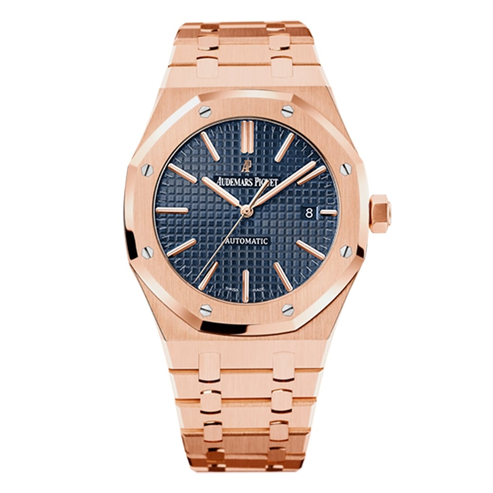 Gentleman  039 s 18K Rose Gold Royal Oak 41mm Automatic Blue Dial Bracelet  Watch 8d6477d3aca7