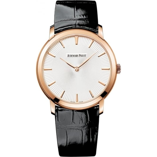 Audemars Piguet Jules Audemars Extra-Thin 18K Rose Gold Automatic Silver Patterned Dial Strap Watch