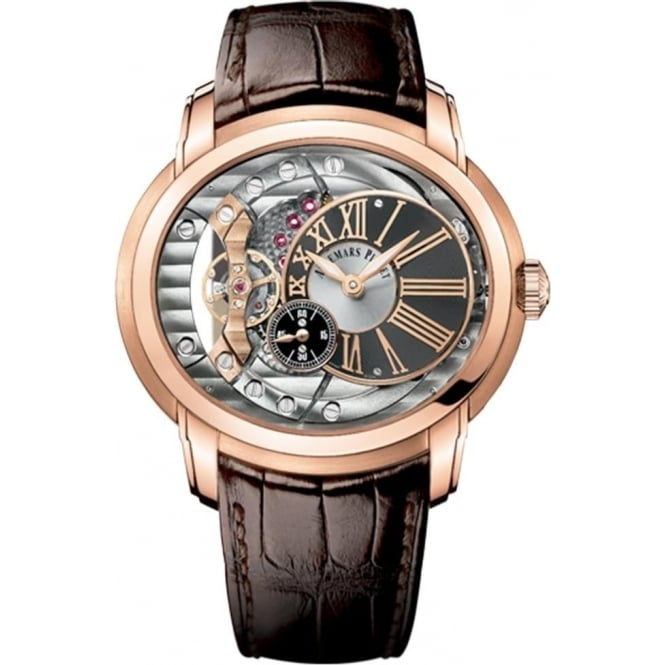 Audemars Piguet Millenary 4101 18K Rose Gold Automatic Openwork Dial Strap Watch