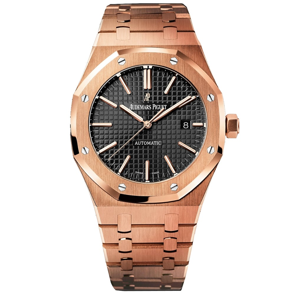 Audemars Piguet Royal Oak 41mm 18k Rose Gold Automatic Black Dial Bracelet Watch