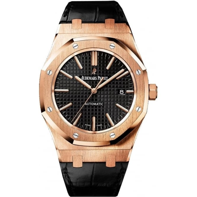 Audemars Piguet Royal Oak 41mm 18K Rose Gold Automatic Black Dial Strap Watch