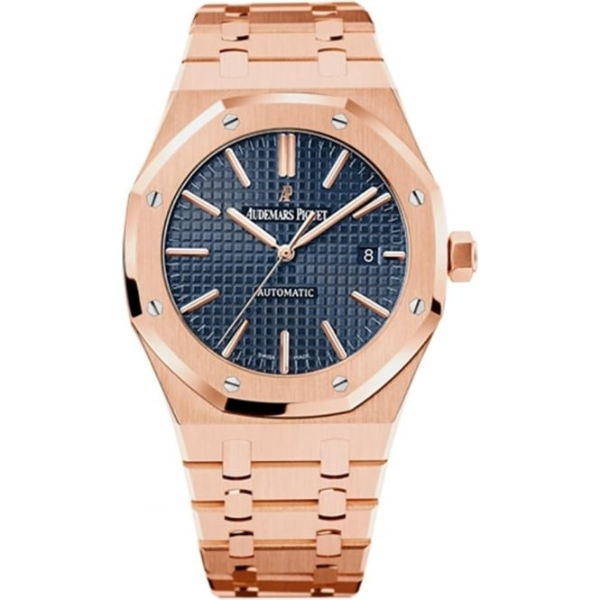 Audemars Piguet Royal Oak 41mm 18K Rose Gold Automatic Blue Dial Bracelet Watch