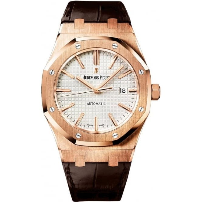 Audemars Piguet Royal Oak 41mm 18K Rose Gold Automatic Silver Dial Strap Watch