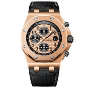 Audemars Piguet Royal Oak Offshore 42mm 18K Rose Gold Automatic Chronograph Rose Gold Dial Strap Watch