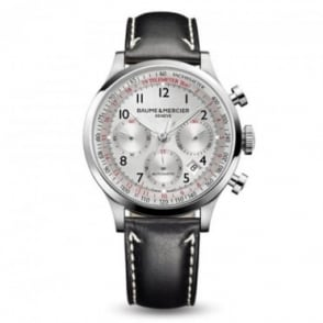 Baume & Mercier Capeland Automatic Chronograph Silver Dial Strap Watch