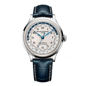 Baume & Mercier Capeland Worldtimer Automatic Off-White Dial Strap Watch