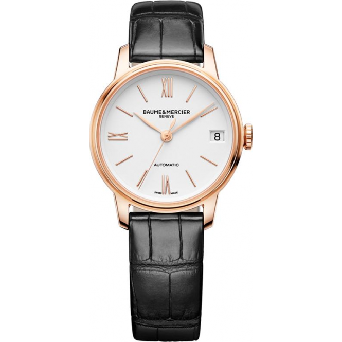 Baume & Mercier Classima 18K Rose Gold Automatic White Dial Strap Watch