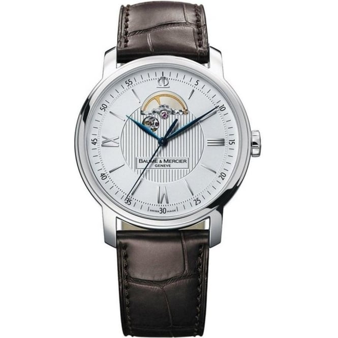 Baume & Mercier Classima Automatic Openworked Silver Dial Strap Watch