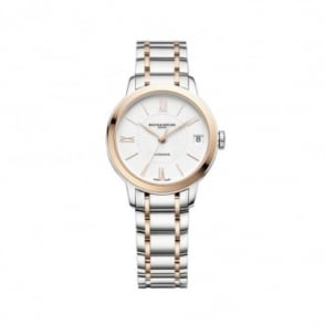 Baume & Mercier Classima Automatic Steel & Rose Gold White Dial Bracelet Watch
