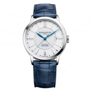 Baume & Mercier Classima Dual-Time Automatic Silver Dial Strap Watch