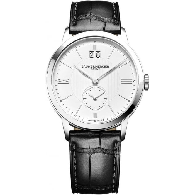Baume & Mercier Classima Dual Time / Big Date White Dial Strap Watch