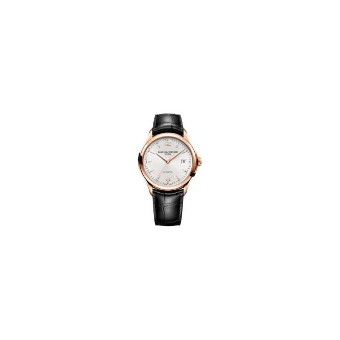 Baume & Mercier Clifton 18K Rose Gold Automatic Silver Dial Strap Watch