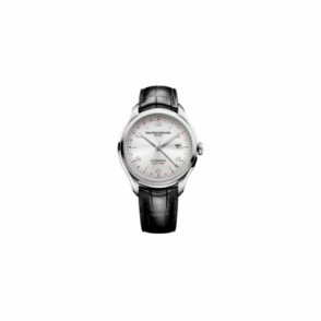 Baume & Mercier Clifton Dual Time Automatic Silver Dial Strap Watch