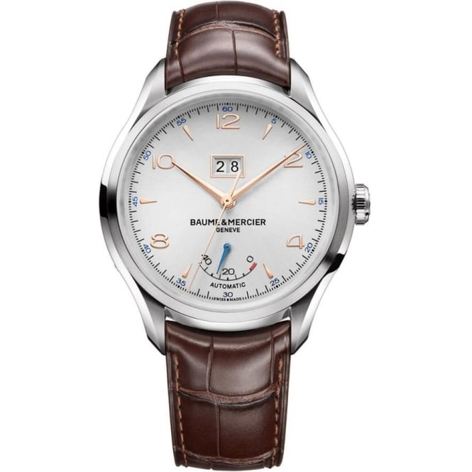 Baume & Mercier Gentlemen's Clifton Power Reserve Big Date Automatic Silver Dial Strap Watch